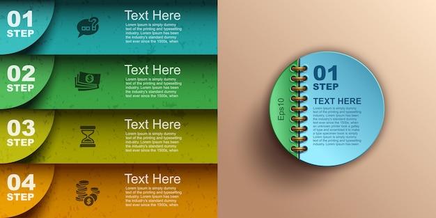 Banners de infografías de negocios modernos, opciones numéricas intensificadas