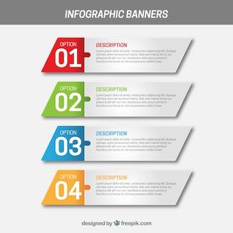 Banners infográficos con cuatro cuadrados irregulares