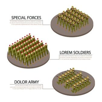 Banners de información del ejército, militares y soldados
