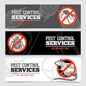 Banners de insectos de control de plagas de bosquejo