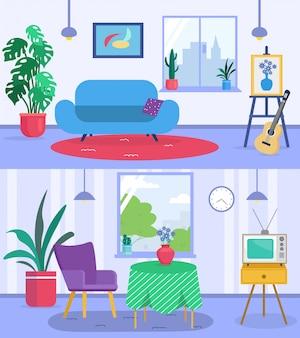 Banners interiores de sala de estar con sofá, guitarra, plantas en macetas, sillones y mesa, ventana con cortinas acogedora casa ilustración plana.