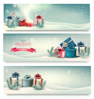 Banners de invierno de navidad con regalos.