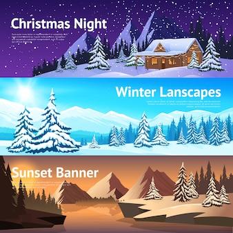Banners de invierno paisaje horizontal