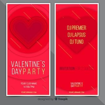 Banners de invitación de fiesta de san valentin