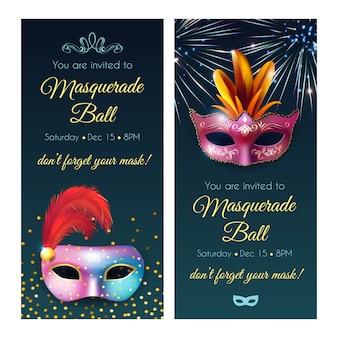 Banners de invitaciones de bolas de mascarada