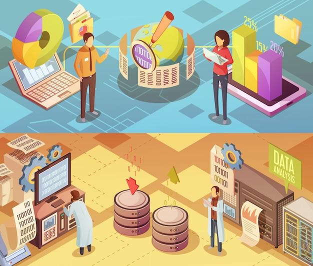Banners isométricos de análisis de datos