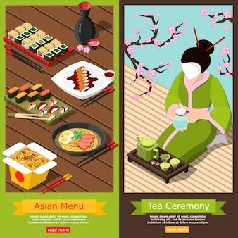 Banners isométricos de barra de sushi