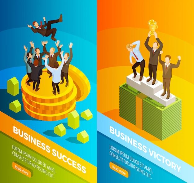 Banners isométricos de celebración de negocios exitosos