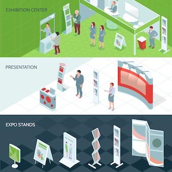 Banners isométricos del centro de exposiciones