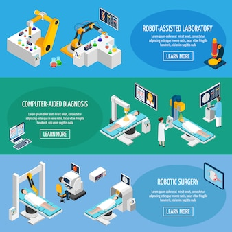 Banners isométricos de cirugía robótica