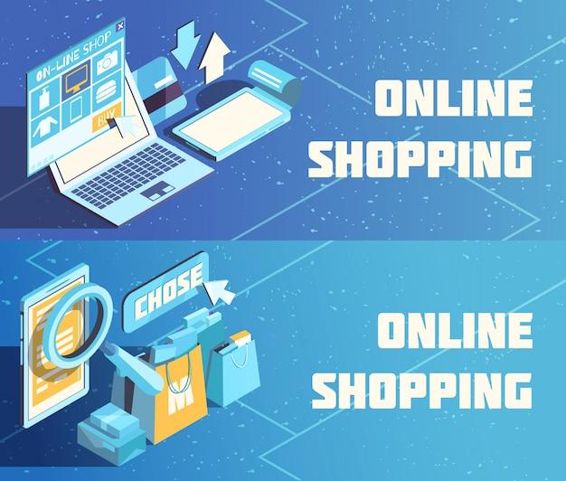 Banners isométricos de compras en línea
