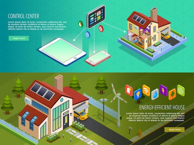 Banners isométricos de control de casa inteligente