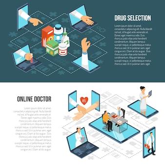 Banners isométricos de diagnóstico médico en línea