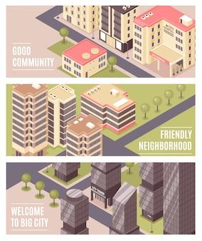 Banners isométricos de edificios de la ciudad