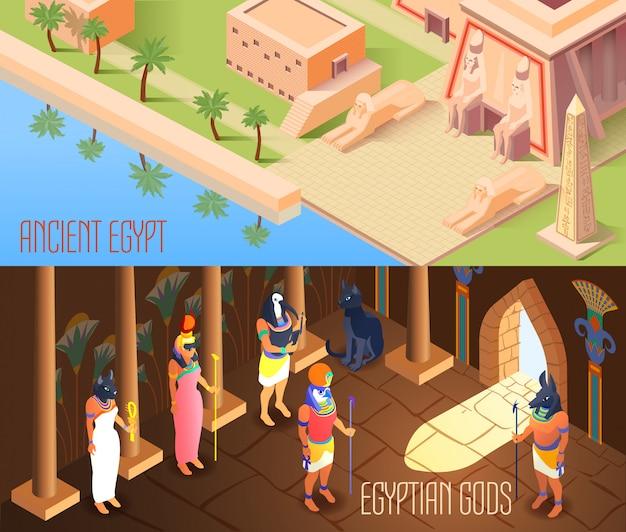 Banners isométricos de egipto