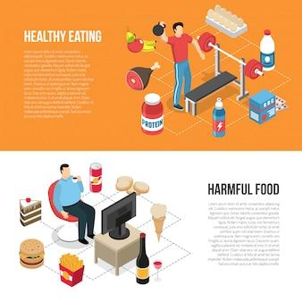 Banners isométricos de estilos de vida saludables no saludables