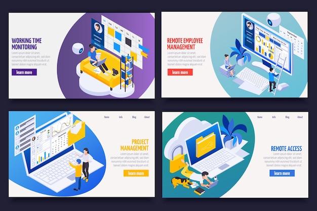 Banners isométricos de gestión de trabajo remoto con seguimiento de proyectos, acceso a datos, control de productividad de empleados