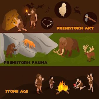 Banners isométricos horizontales con fauna prehistórica, gente primitiva y su arte.
