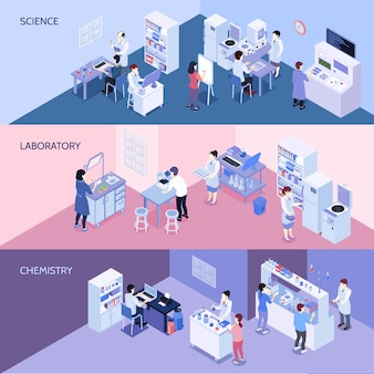 Banners isométricos horizontales de laboratorio