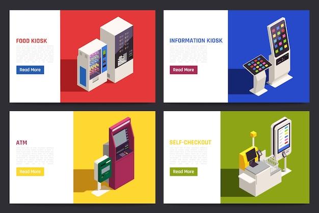 Banners isométricos con ilustración de interfaces de información de pantalla táctil