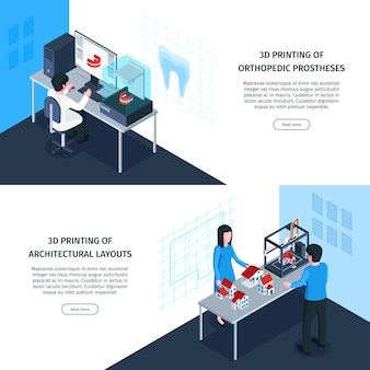 Banners isométricos de impresión 3d con botones en los que se puede hacer clic, texto editable e imágenes de aplicaciones médicas y arquitectónicas.