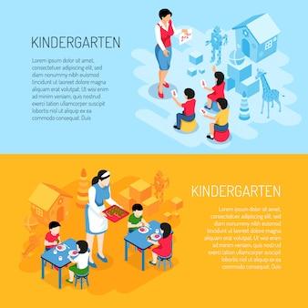 Banners isométricos de jardín de infantes niños durante la comida y el aprendizaje de contar con naranja azul aislado