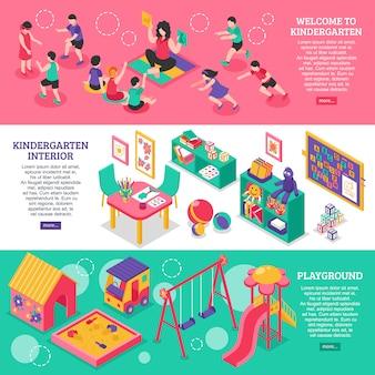 Banners isométricos de jardín de infantes