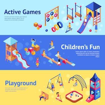 Banners isométricos de juegos infantiles