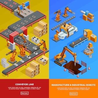Banners isométricos de líneas transportadoras robóticas