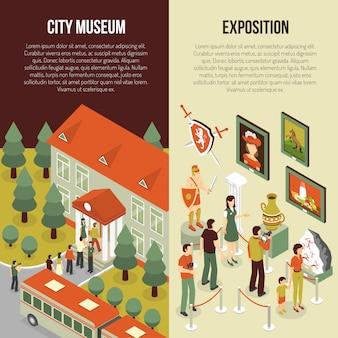Banners isométricos del museo de bellas artes