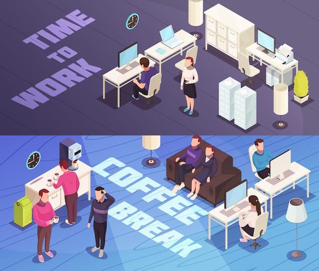 Banners isométricos de oficina