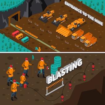 Banners isométricos de personas mineras