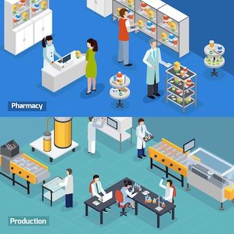 Banners isométricos de producción farmacéutica