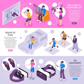 Banners isométricos de realidad virtual