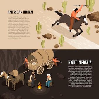 Banners isométricos del salvaje oeste con indio americano a caballo y vaqueros cerca de fogata aislado