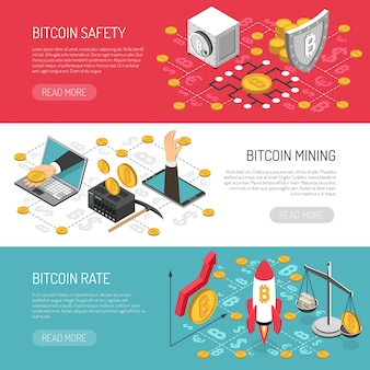 Banners isométricos de seguridad de tasa de bitcoin