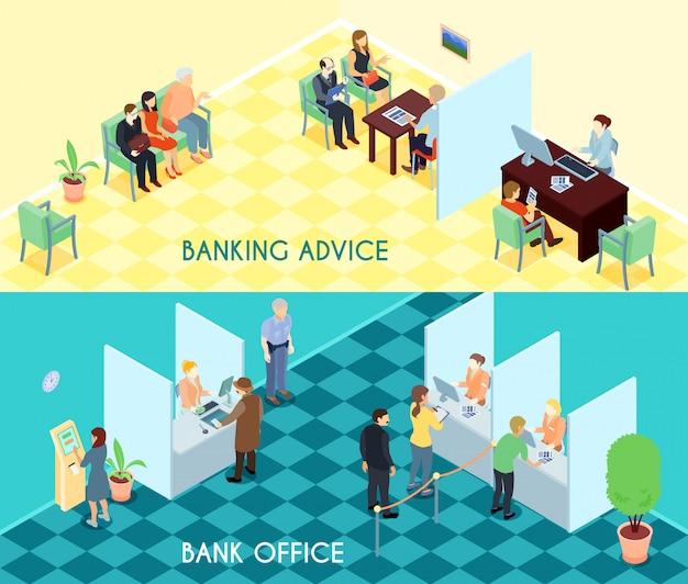 Banners isométricos de servicio bancario