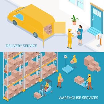 Banners isométricos de servicios de entrega de almacén