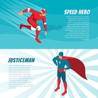Banners isométricos de superhéroes