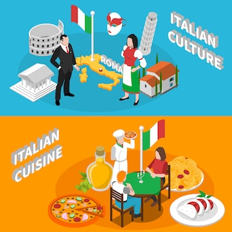 Banners isométricos de turismo de italia