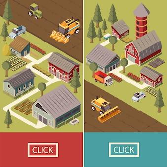 Banners isométricos de vehículos de granja