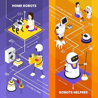 Banners isométricos verticales con ayudantes de robots.