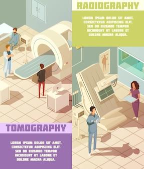 Banners isométricos verticales de hospital con tomografía.