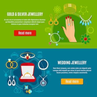Banners de joyas de oro y plata