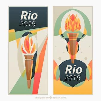 Banners de juegos olímpicos con antorcha en estilo abstracto