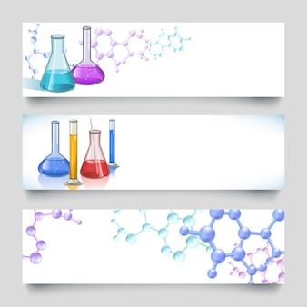 Banners de laboratorio quimicos fondos