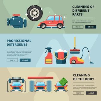 Banners de lavado de autos. servicio de limpieza de cubo de agua y esponja limpiando fotos conceptuales