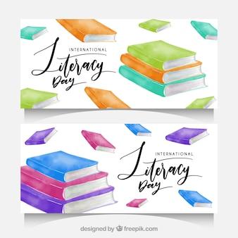 Banners de libros de acuarela