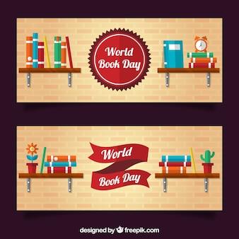 Banners de libros en estanterías