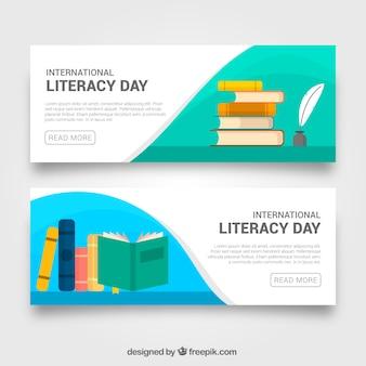 Banners de libros planos del día de la alfabetización